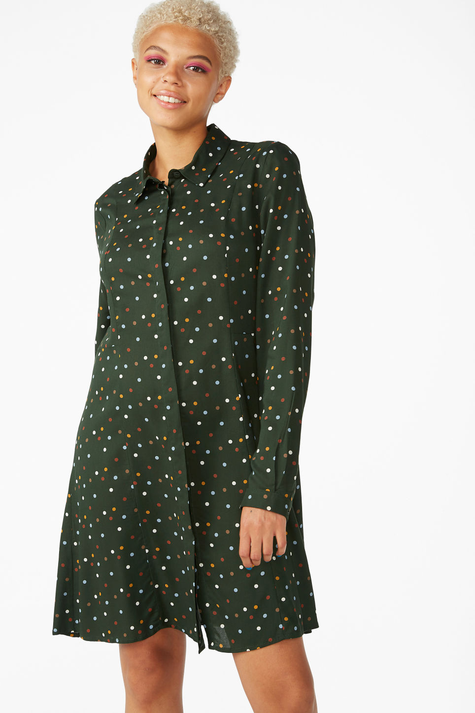Model front image of Monki shirt dress in green