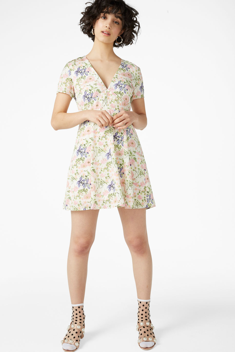 Model front image of Monki silky dress in white