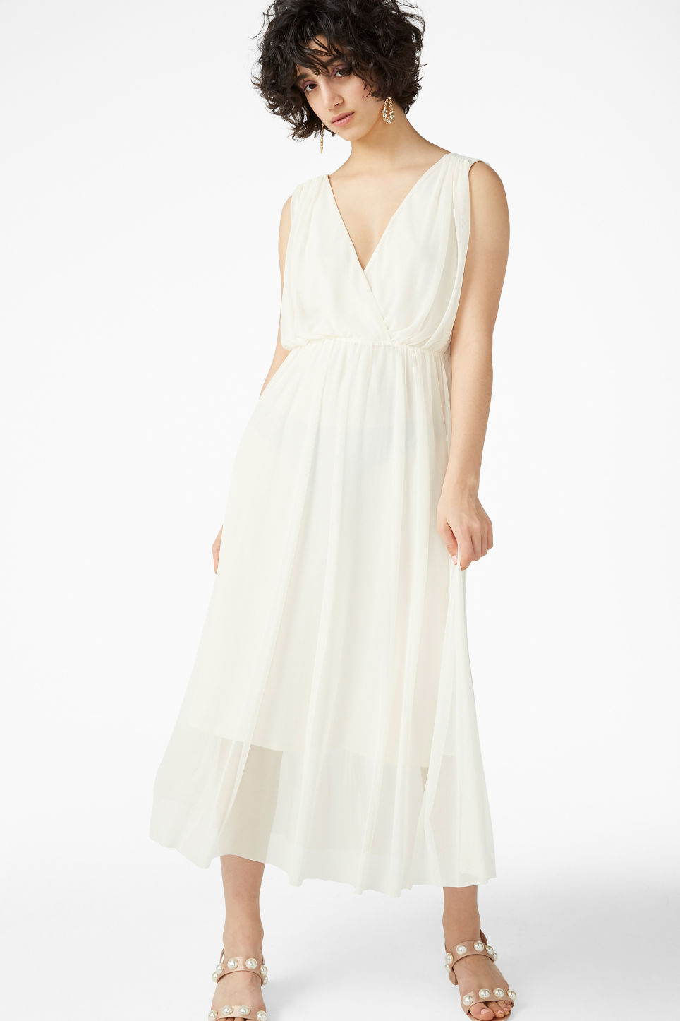 Model front image of Monki long layered dress in white