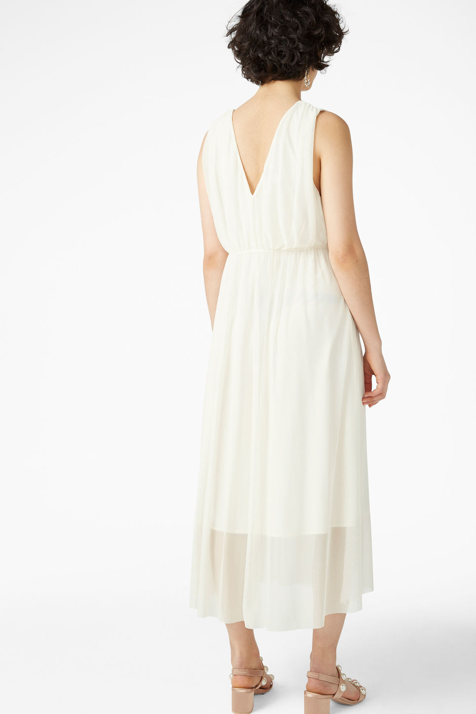 Model back image of Monki long layered dress in white