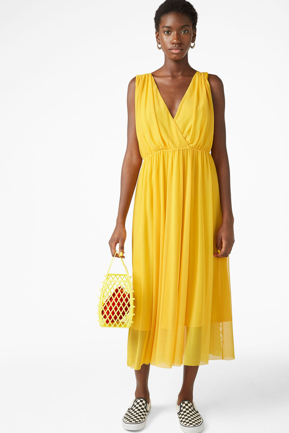 Model front image of Monki long layered dress in yellow