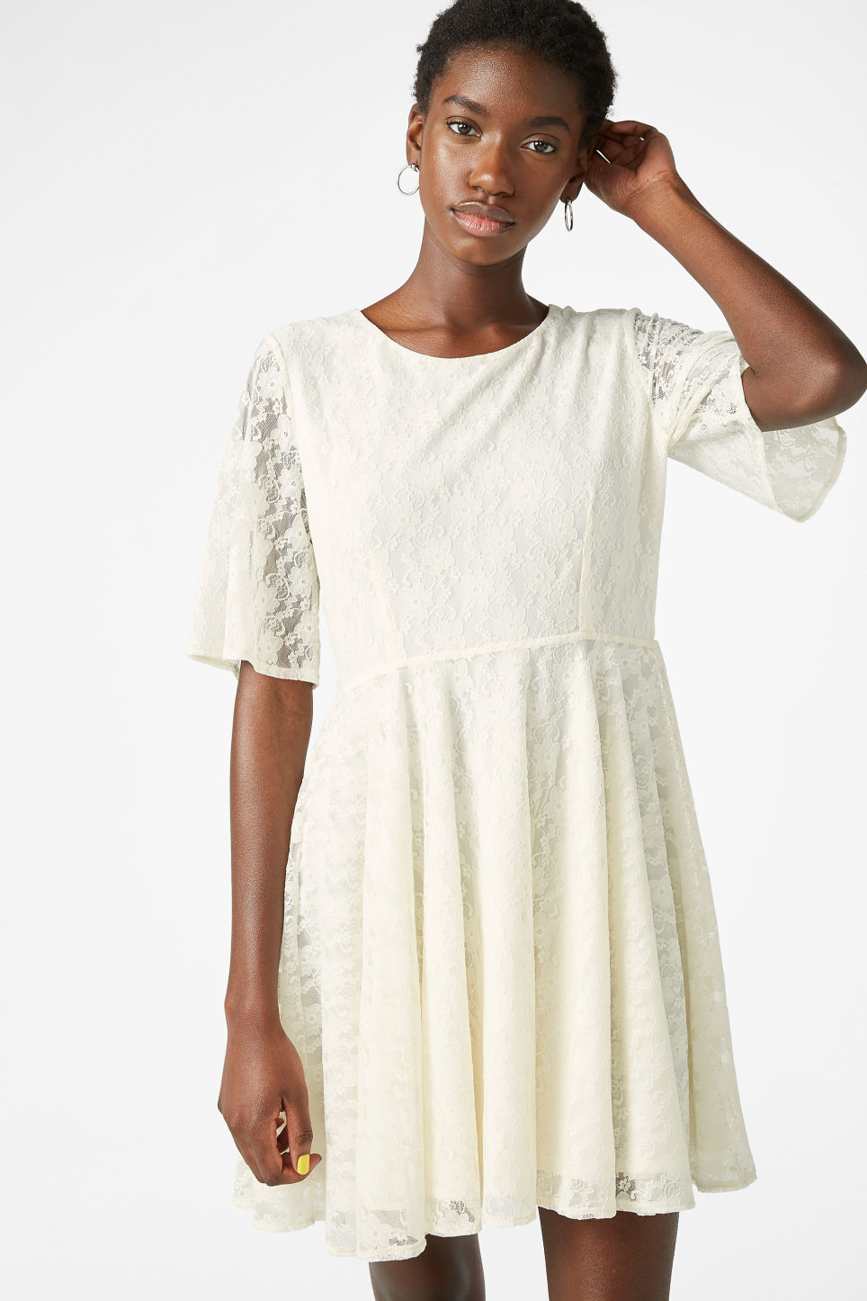 Model front image of Monki lace dress in white