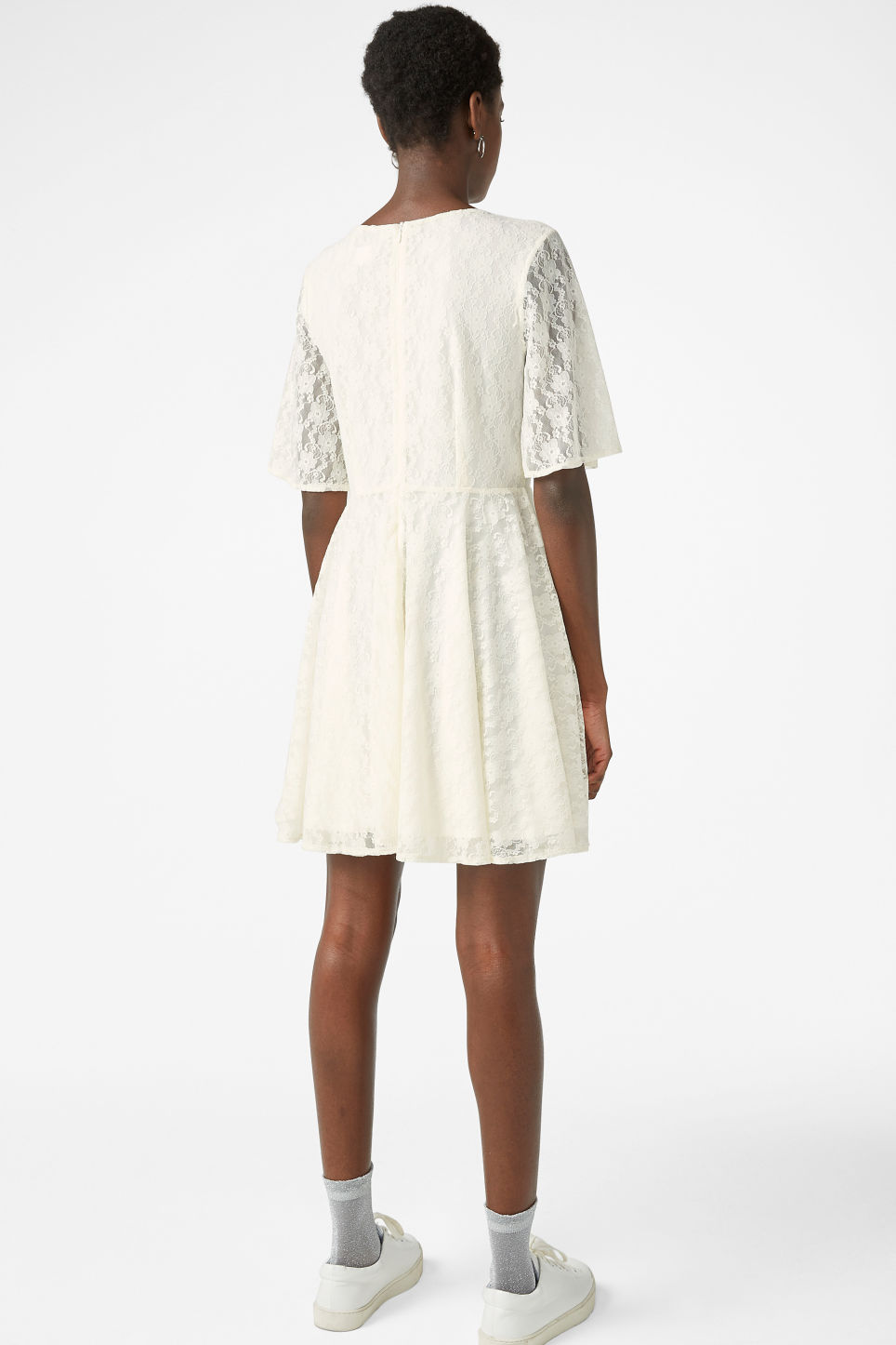 Model back image of Monki lace dress in white