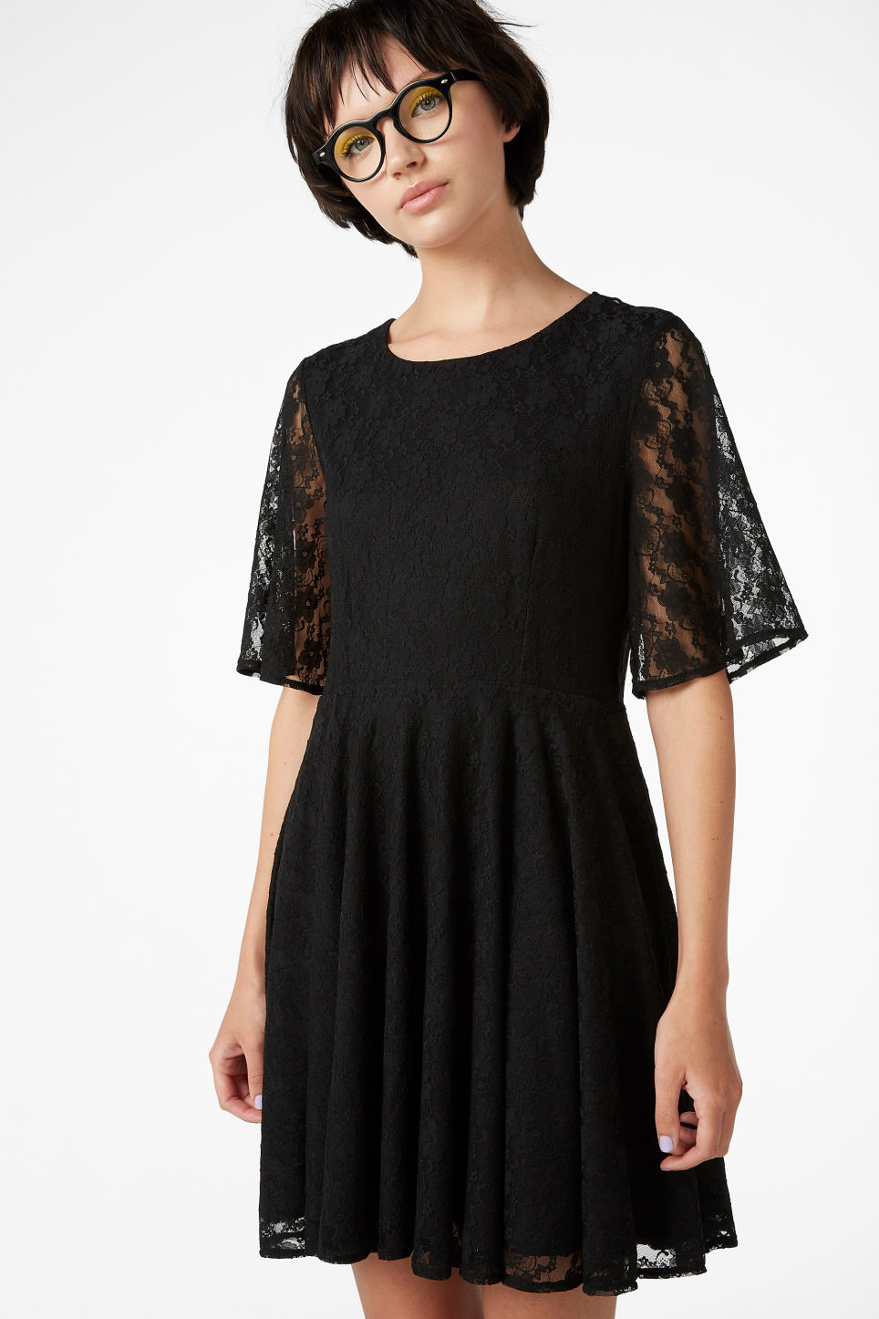 Model front image of Monki lace dress in black