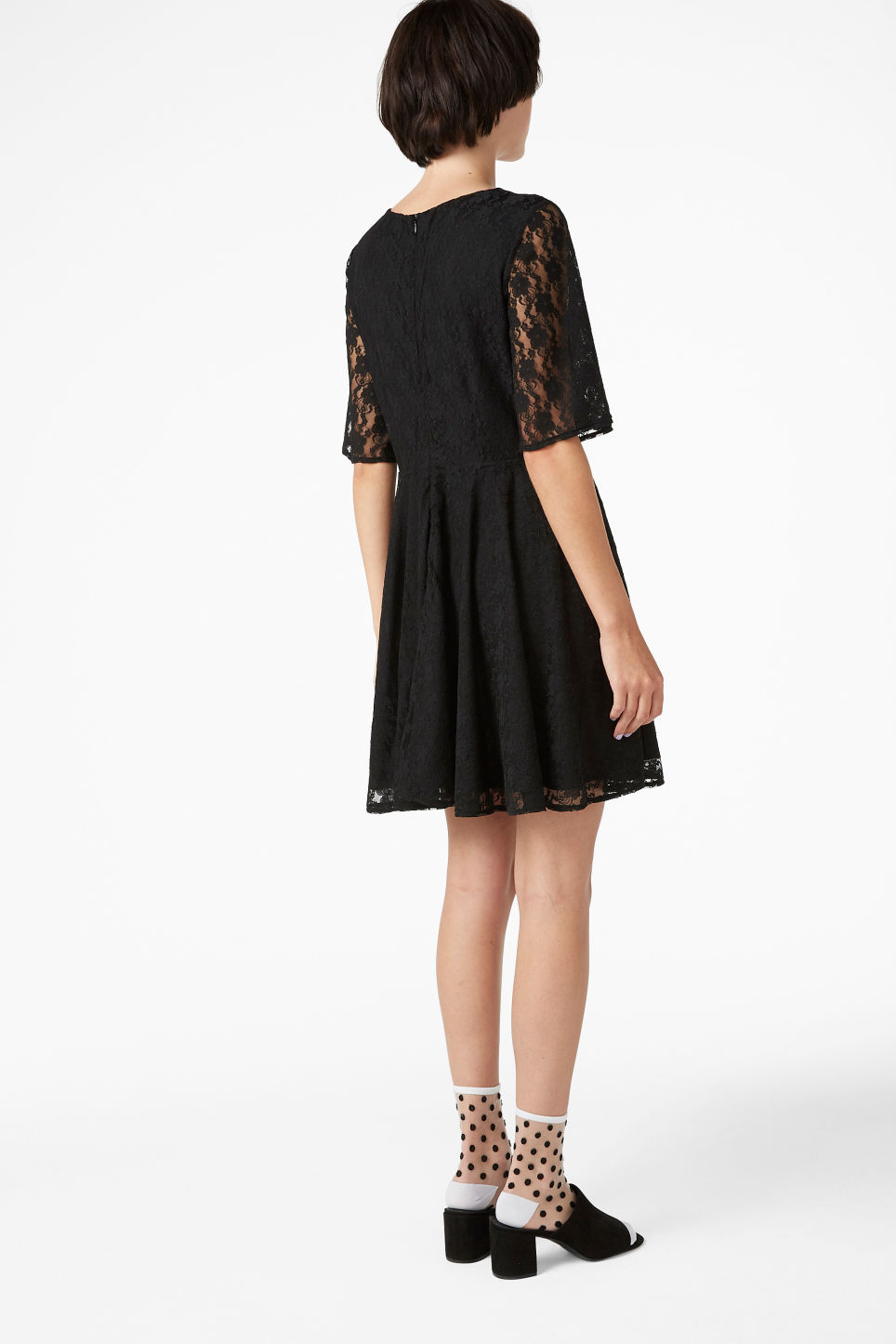 Model back image of Monki lace dress in black