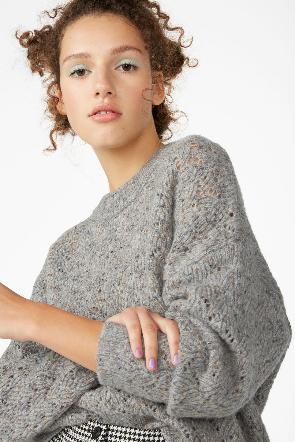 Model front image of Monki super-soft knitted sweater in grey