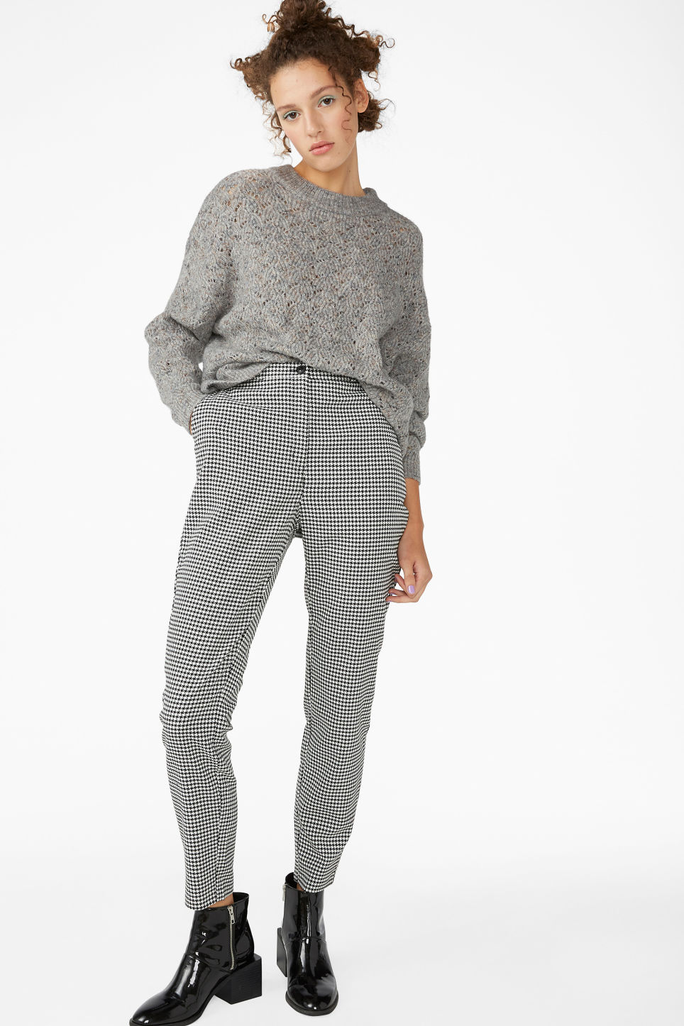 Model side image of Monki super-soft knitted sweater in grey