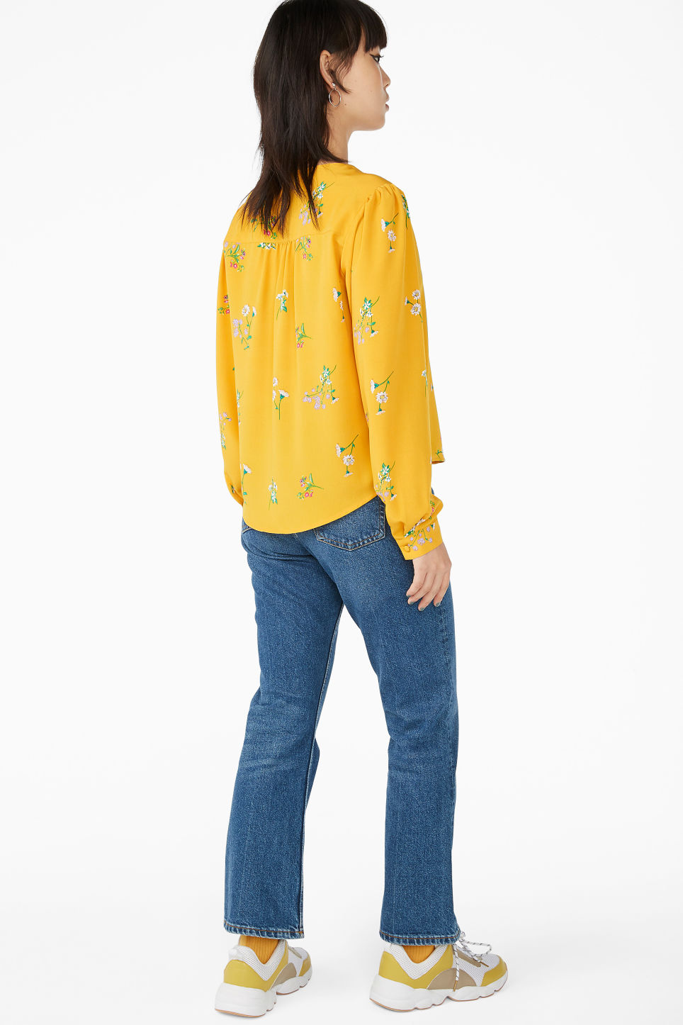 Model back image of Monki billowy blouse in yellow