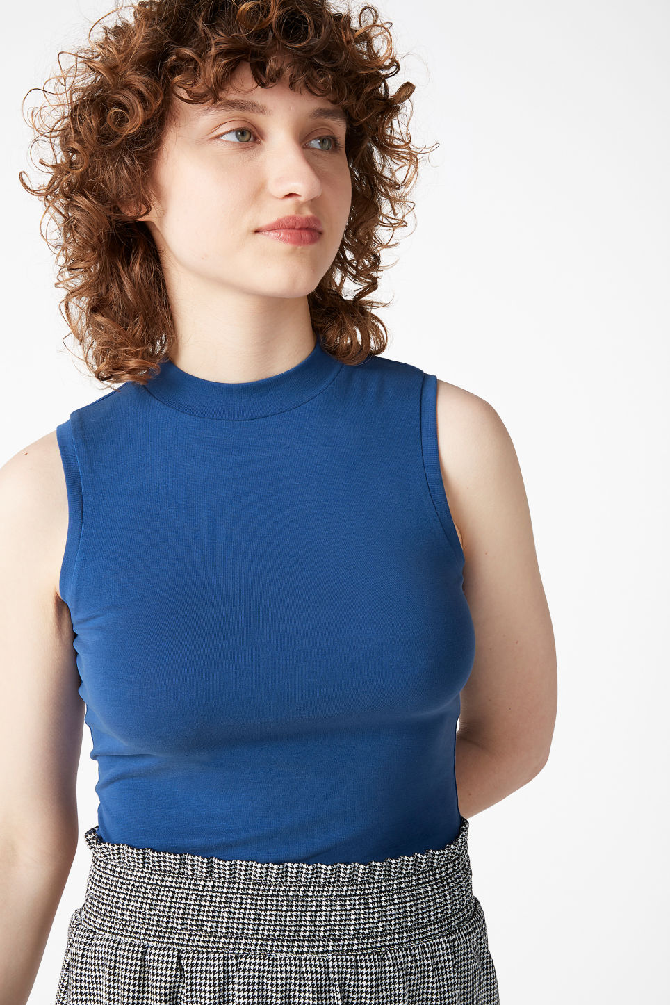 Model front image of Monki super-soft sleeveless top  in blue