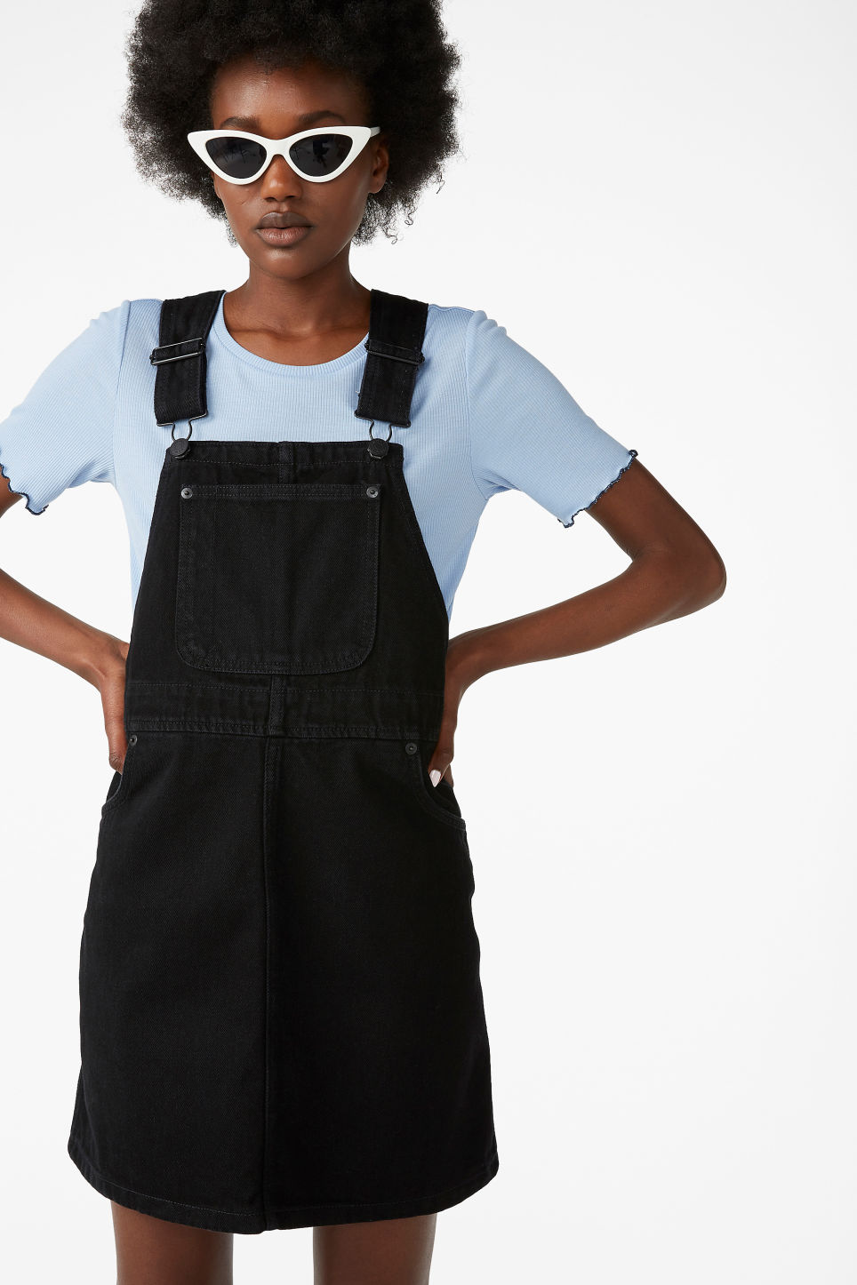 Model front image of Monki denim dungaree dress in black