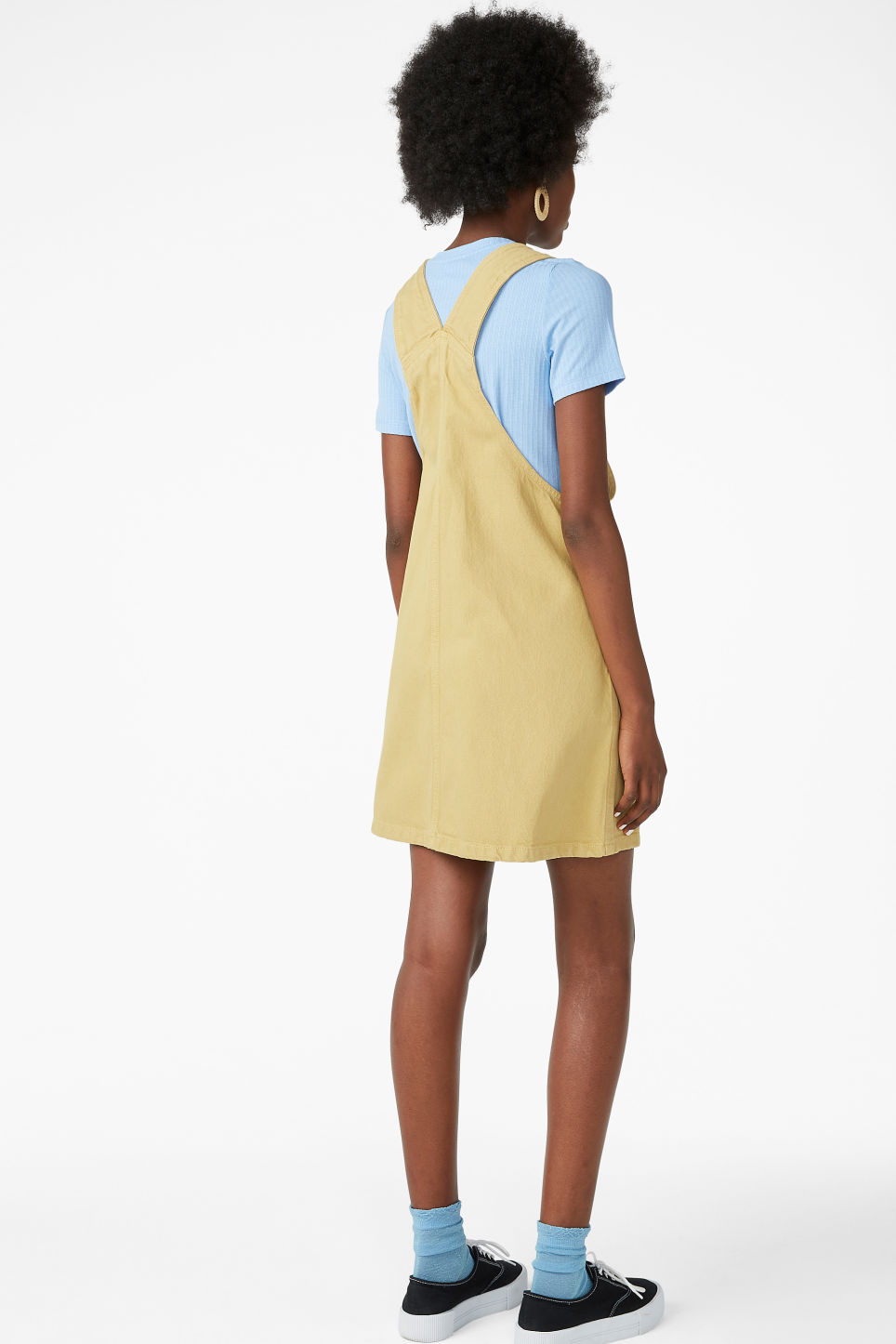 Model back image of Monki denim dungaree dress in yellow