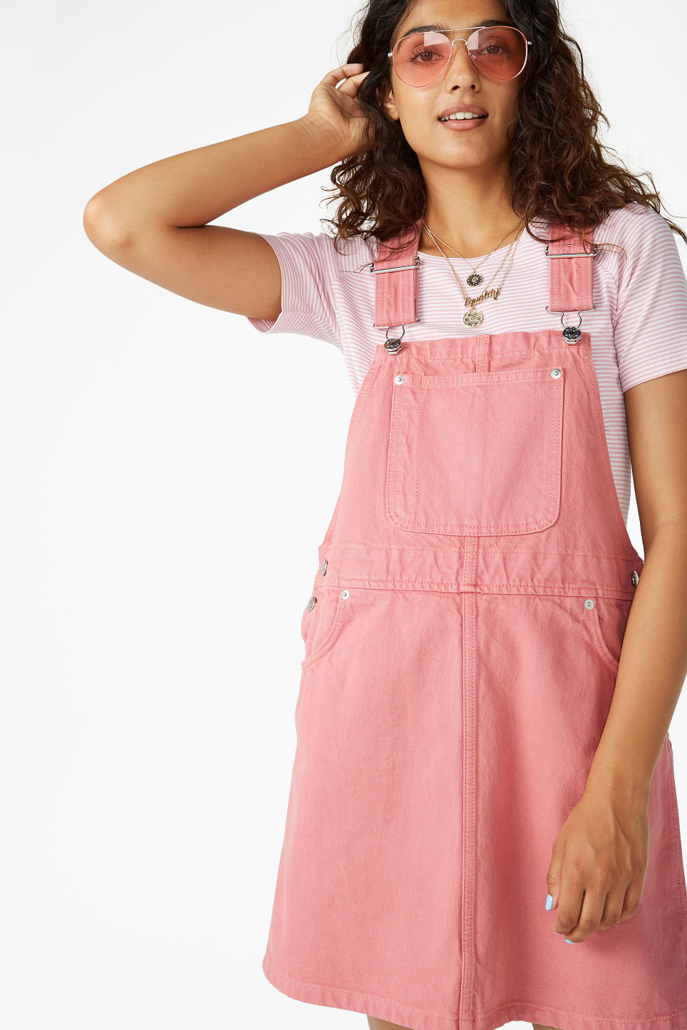 Model front image of Monki denim dungaree dress in pink