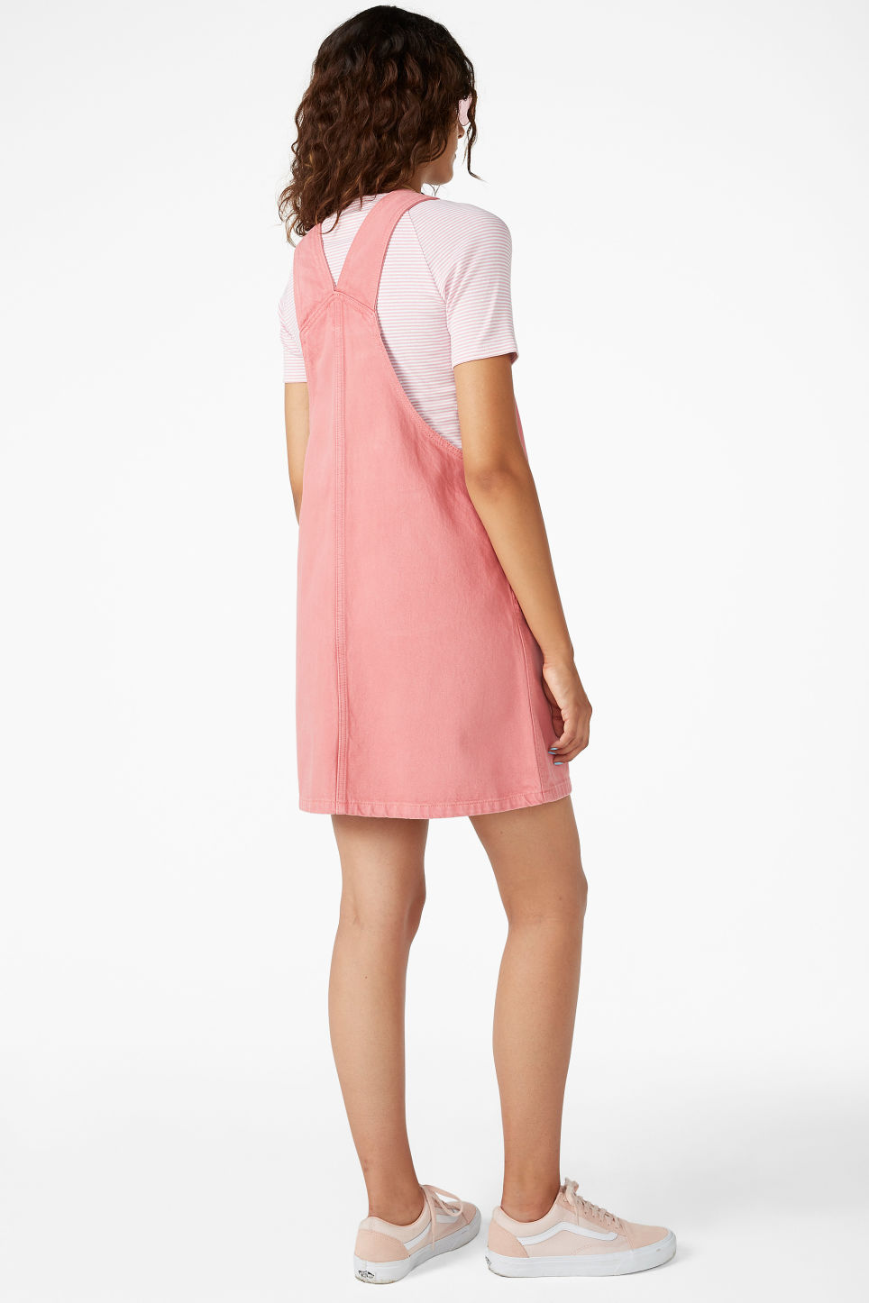 Model back image of Monki denim dungaree dress in pink