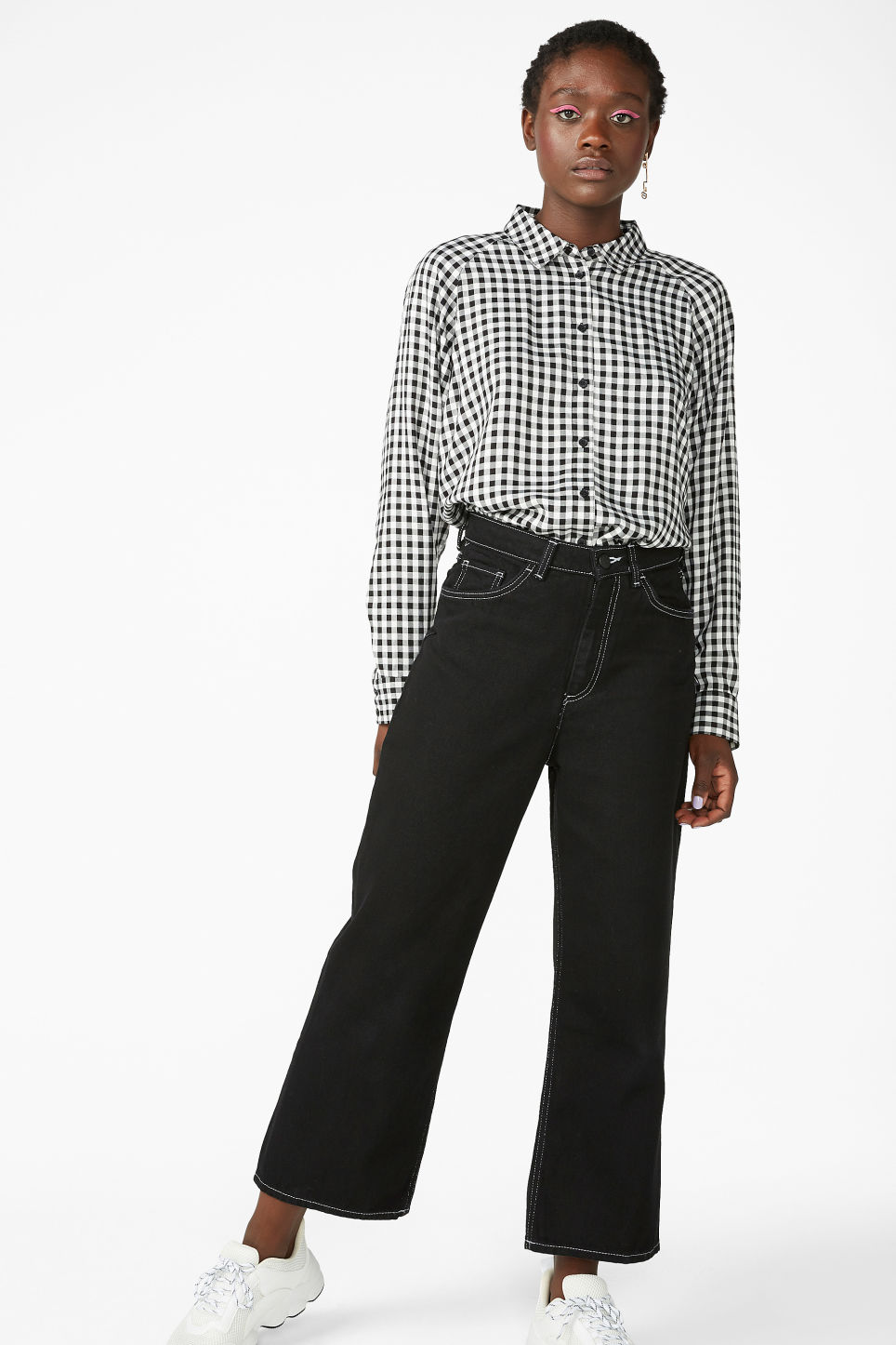 Model side image of Monki button-up shirt in black