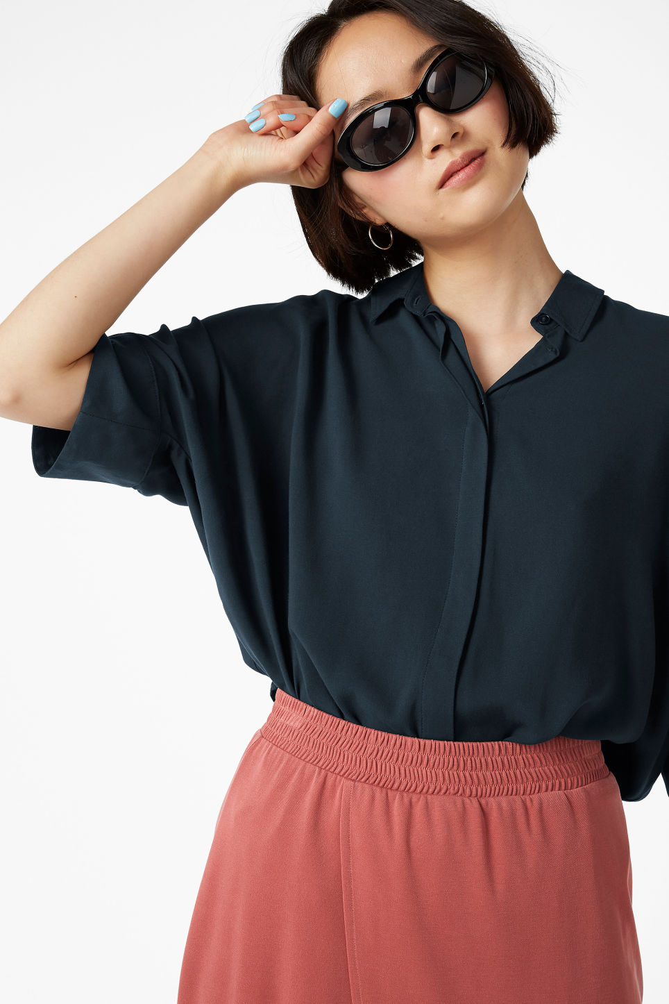 Model front image of Monki oversized boxy shirt in blue