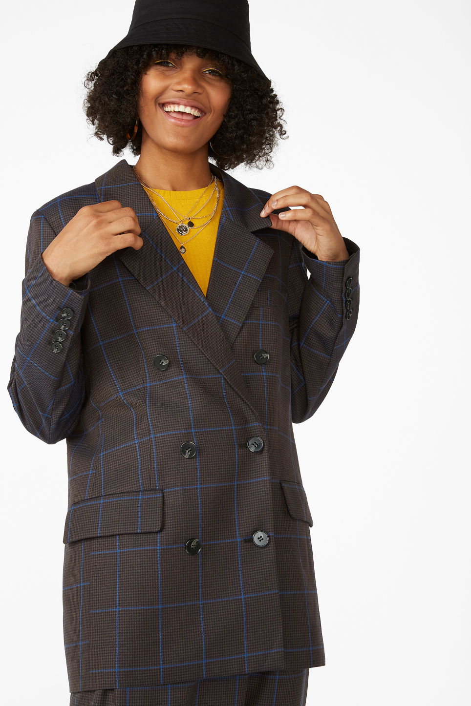 Model front image of Monki double-breasted blazer in grey