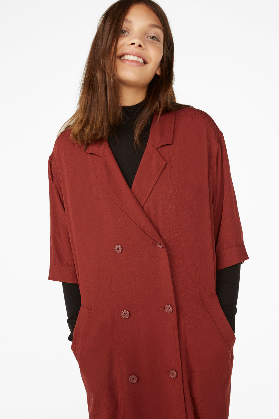 Model front image of Monki tuxedo dress in red