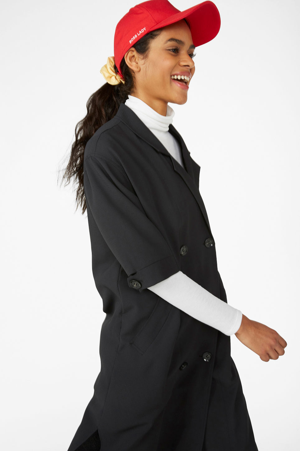 Model front image of Monki tuxedo dress in black