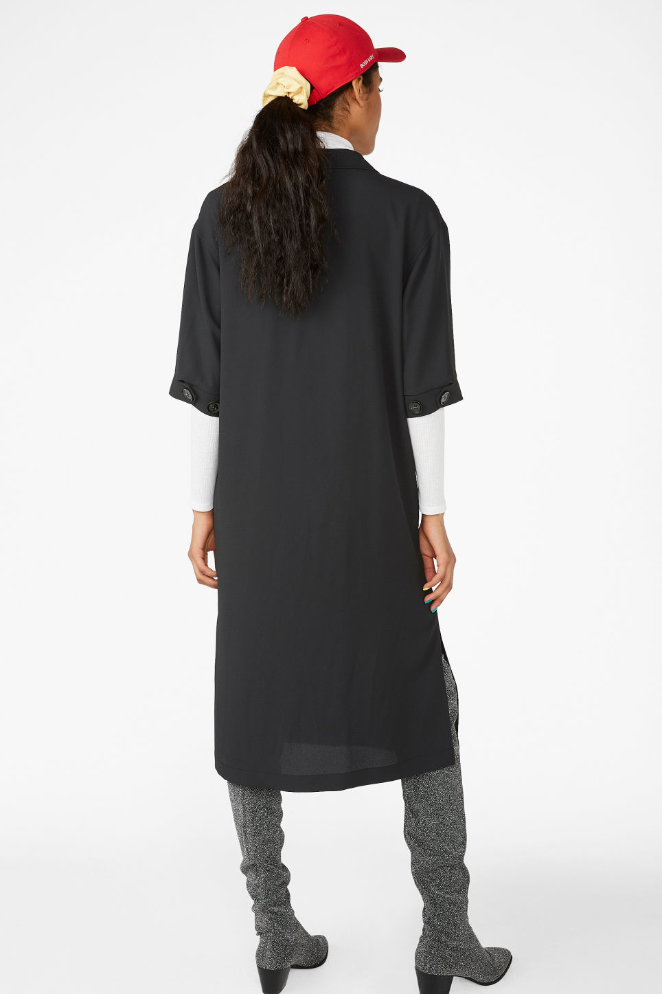 Model back image of Monki tuxedo dress in black