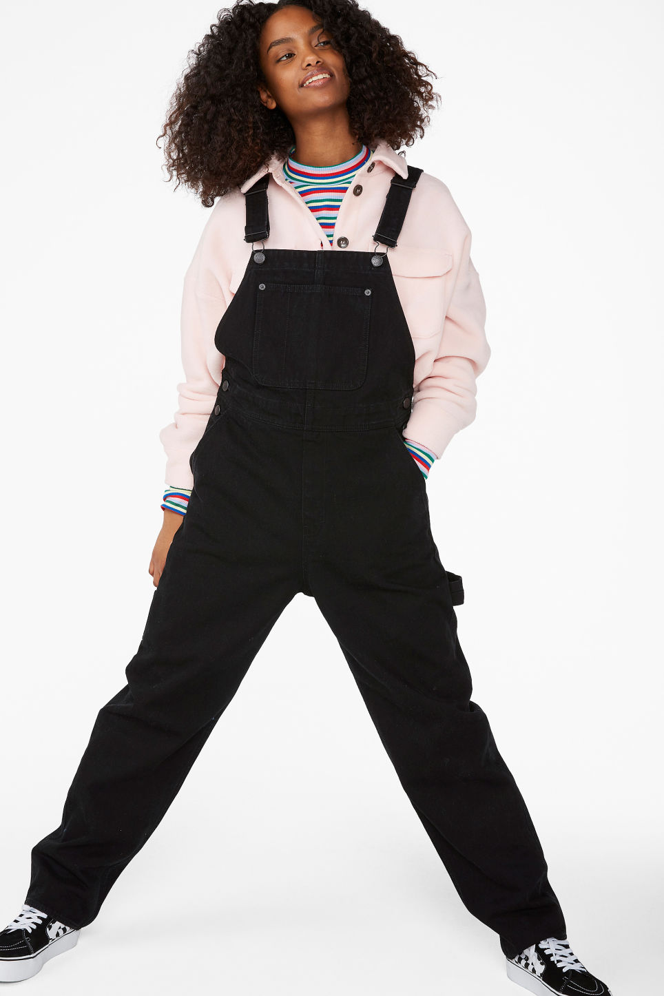 Model front image of Monki denim dungarees in black