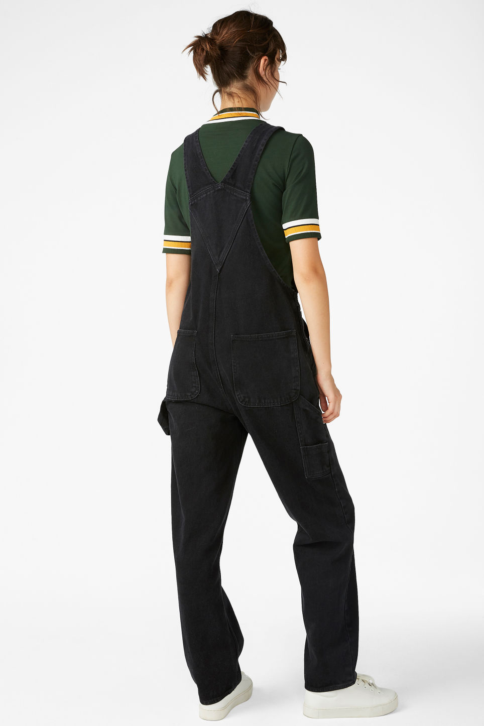Model back image of Monki denim dungarees in black