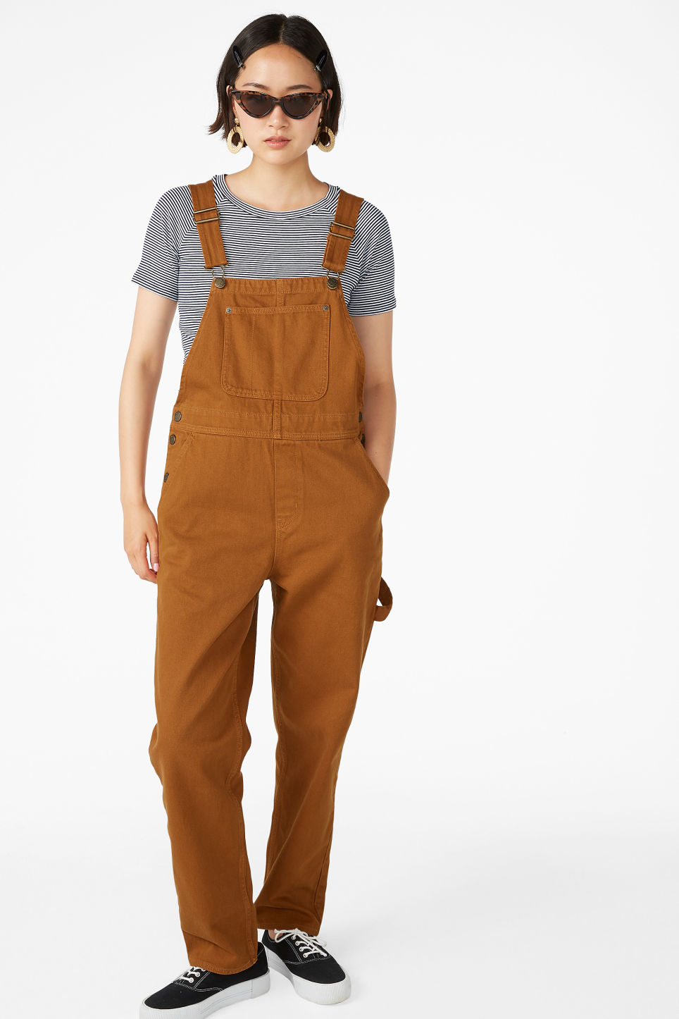 Model front image of Monki denim dungarees in orange