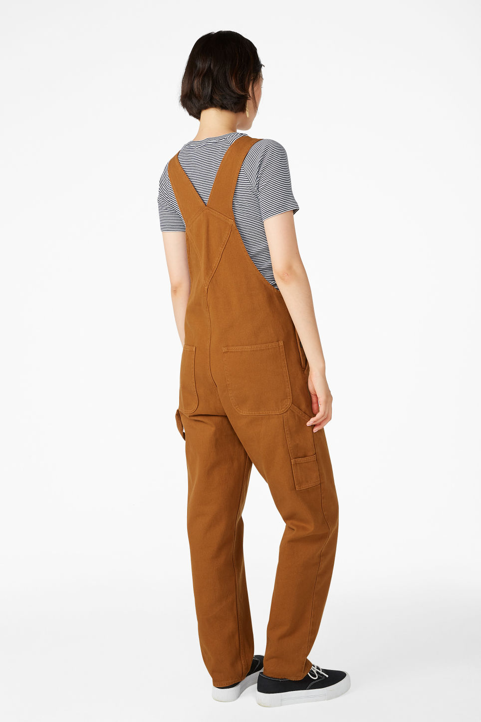 Model back image of Monki denim dungarees in orange