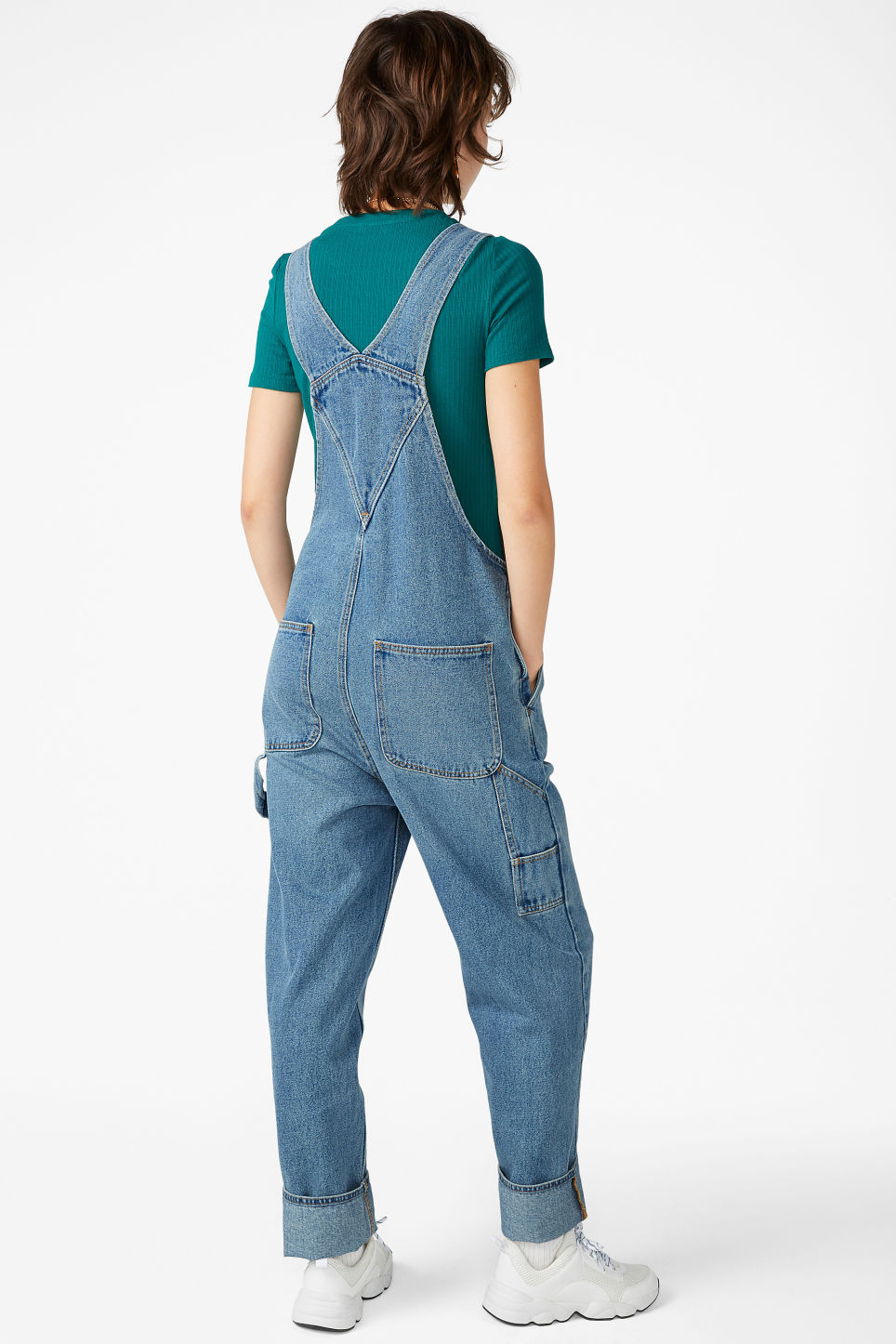 Model back image of Monki denim dungarees in blue