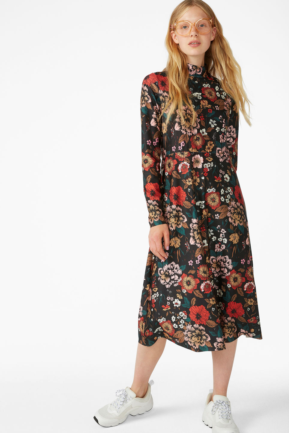 Model front image of Monki raised neck dress in black