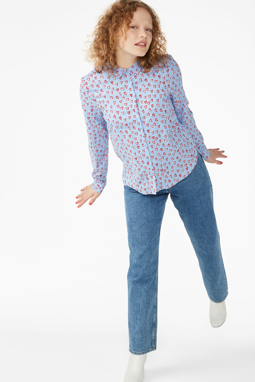 Model front image of Monki classic button-up shirt  in blue