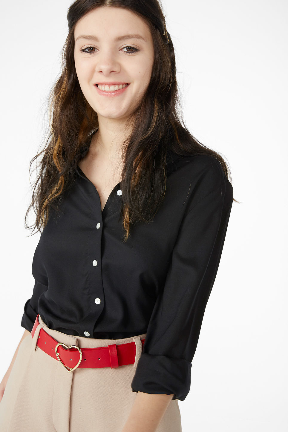Model front image of Monki classic button-up shirt  in black
