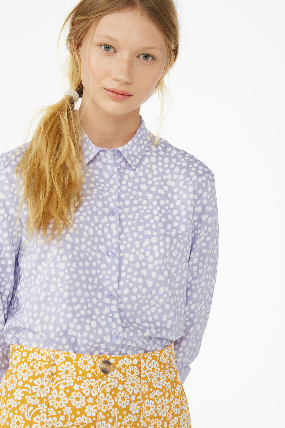 Model front image of Monki classic button-up shirt  in purple