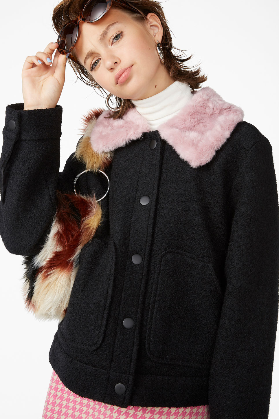 Model front image of Monki fluffy collar jacket in black