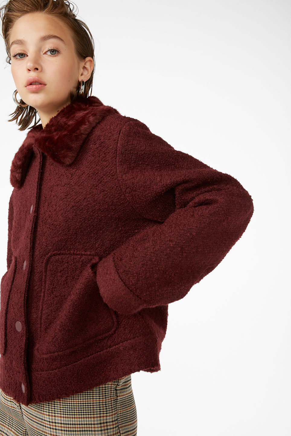 Model front image of Monki fluffy collar jacket in red
