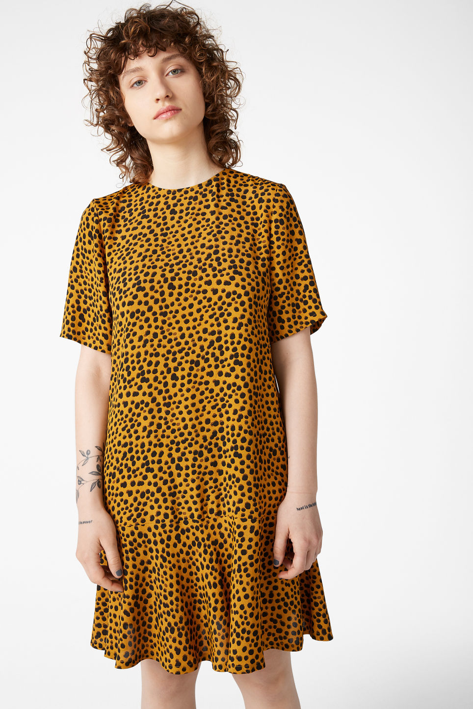 Model front image of Monki flounce t-shirt dress in yellow