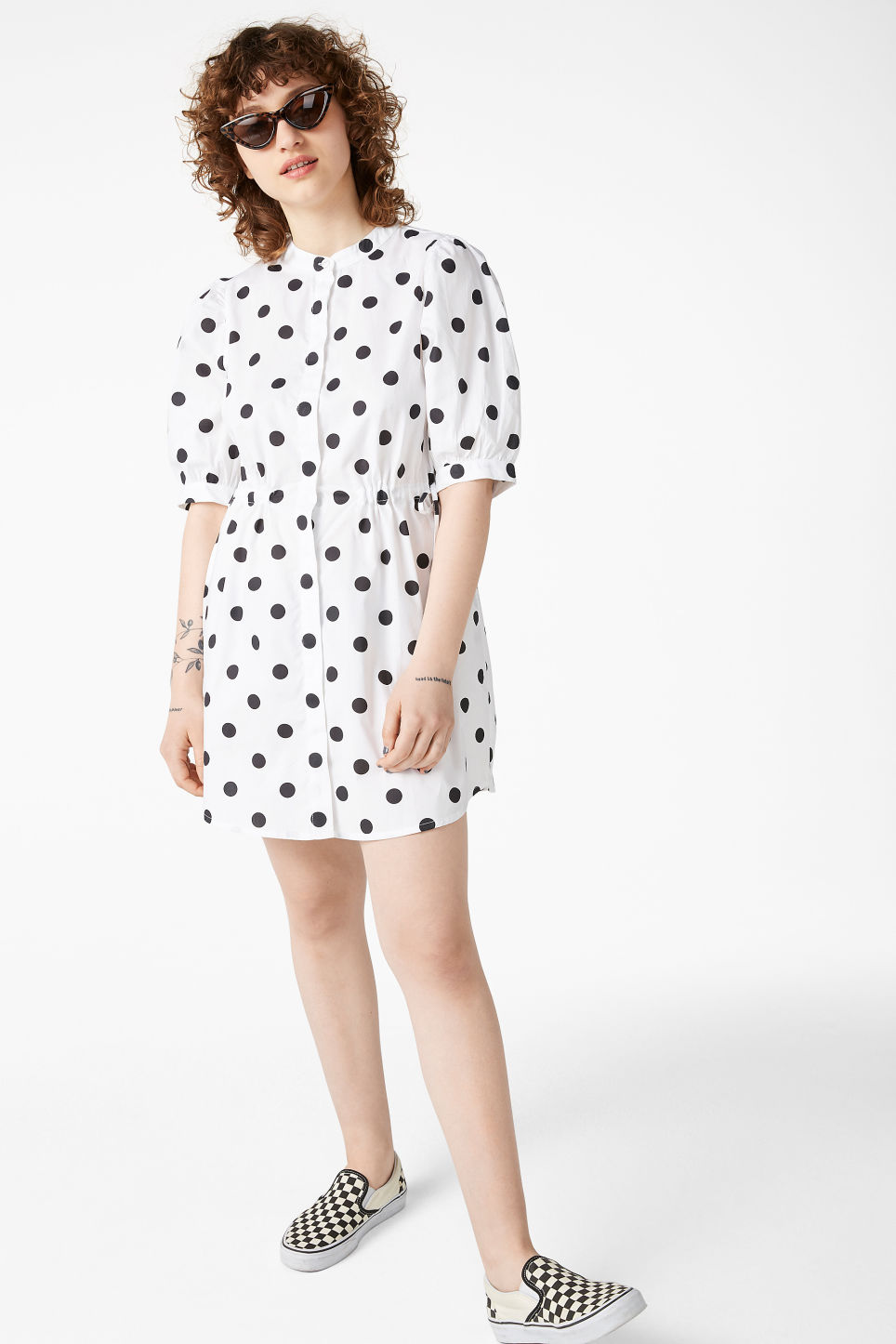 Model front image of Monki drawstring shirt dress in white