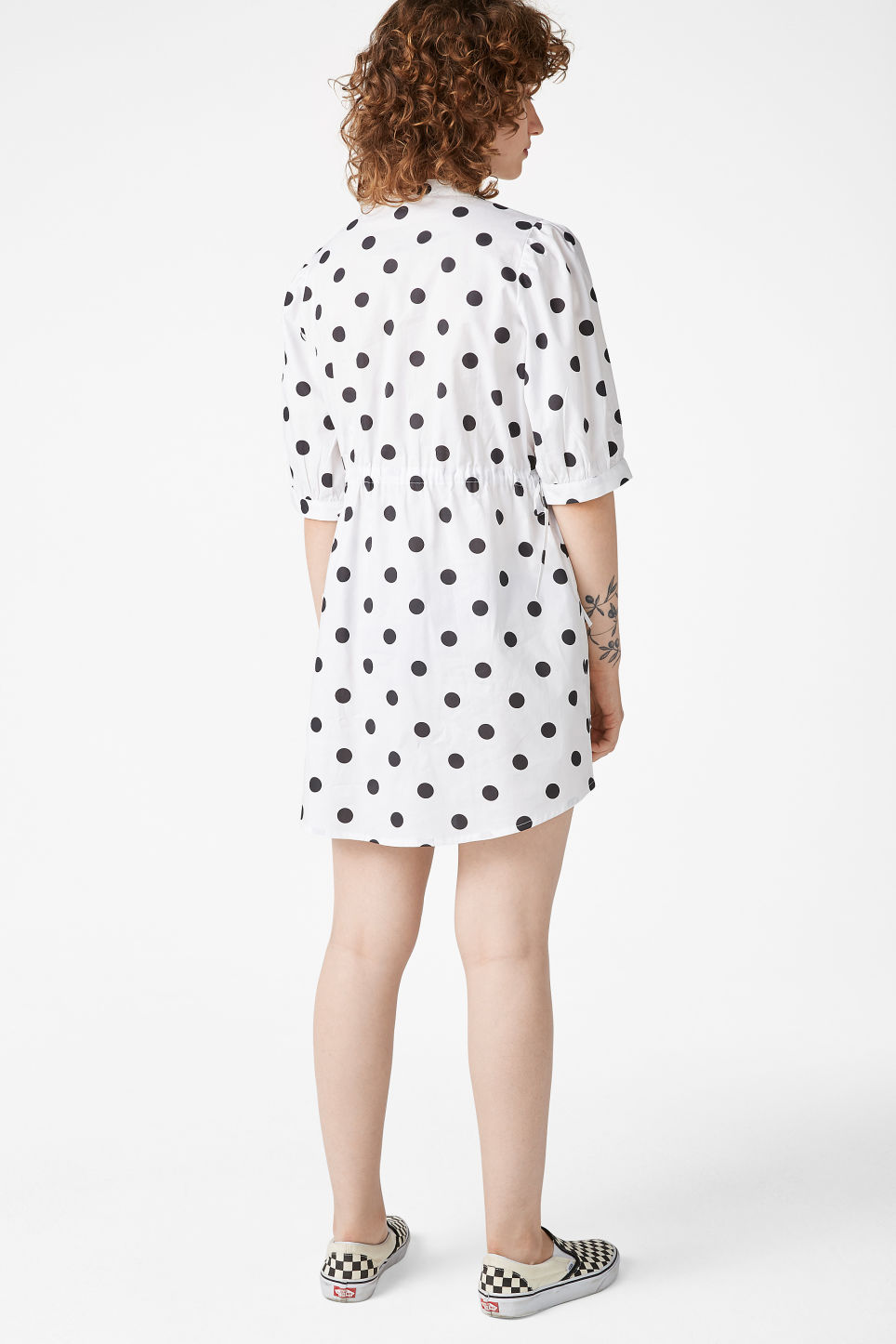 Model back image of Monki drawstring shirt dress in white