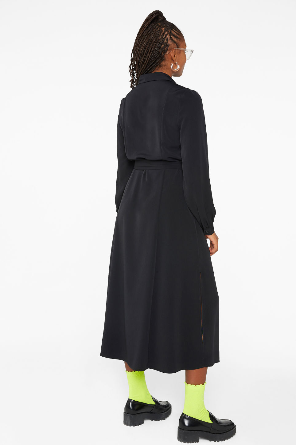 Model back image of Monki belted shirt dress in black