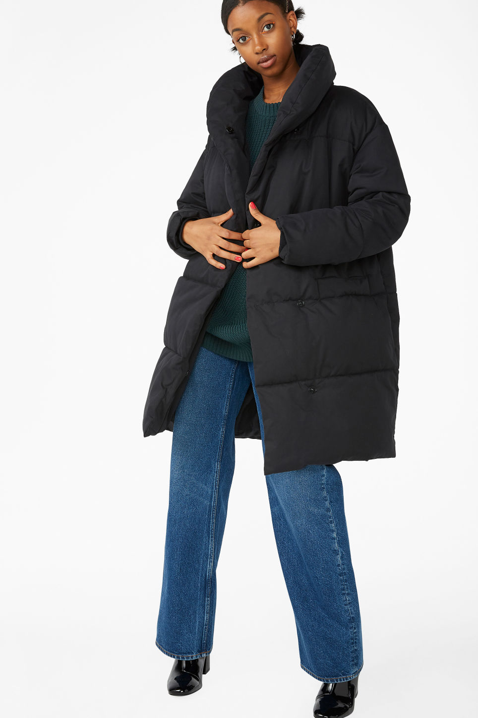 Model front image of Monki puffer coat in black