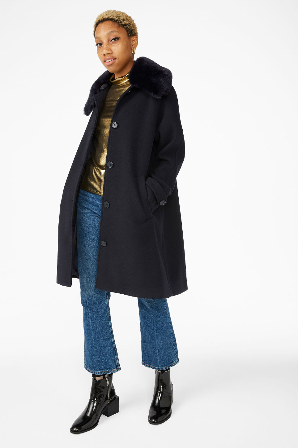 Model front image of Monki classy a-line coat in blue