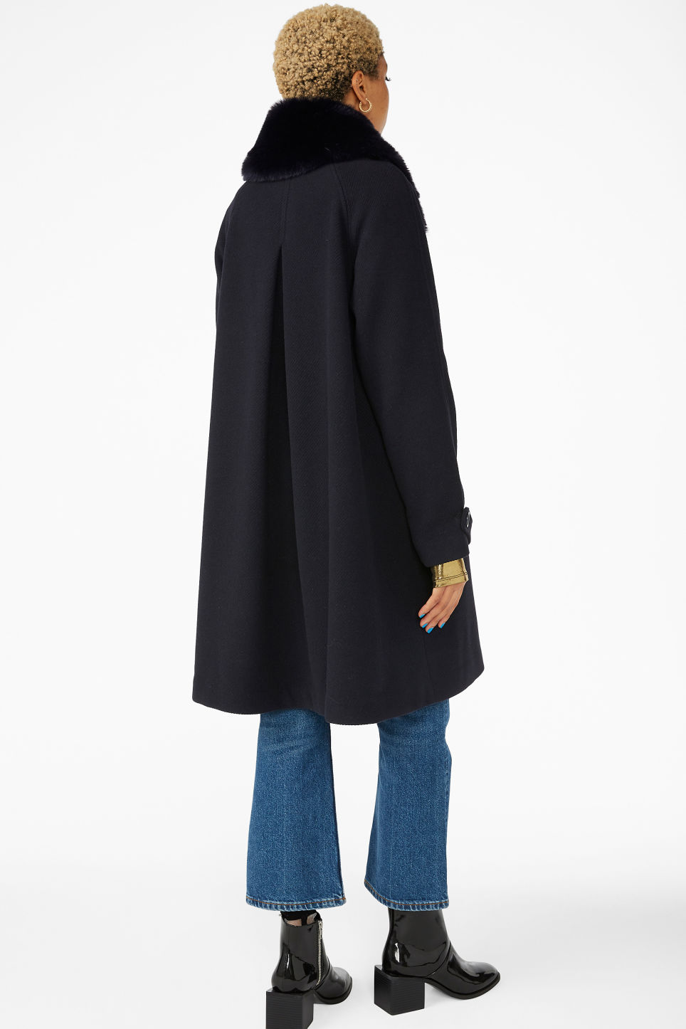 Model back image of Monki classy a-line coat in blue