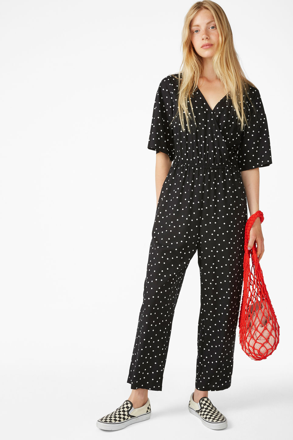 Model front image of Monki lightweight jumpsuit  in black