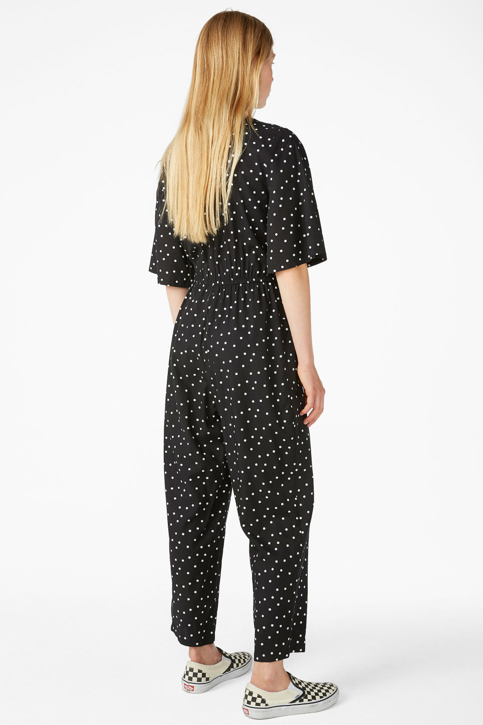 Model back image of Monki lightweight jumpsuit  in black