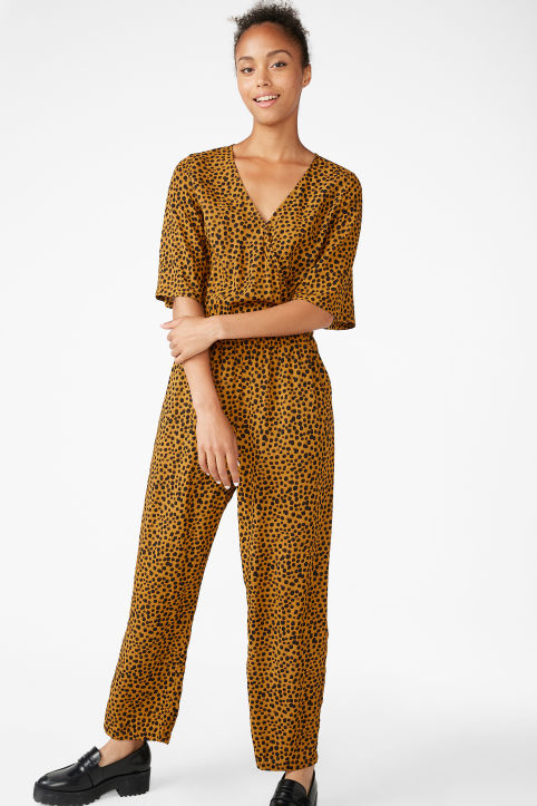 Short-sleeved wrap jumpsuit