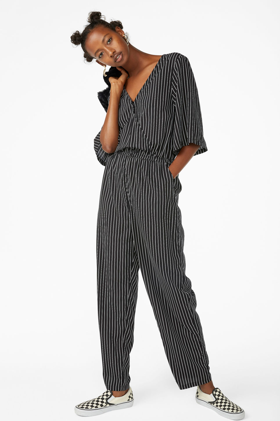 Model front image of Monki short-sleeved wrap jumpsuit in black