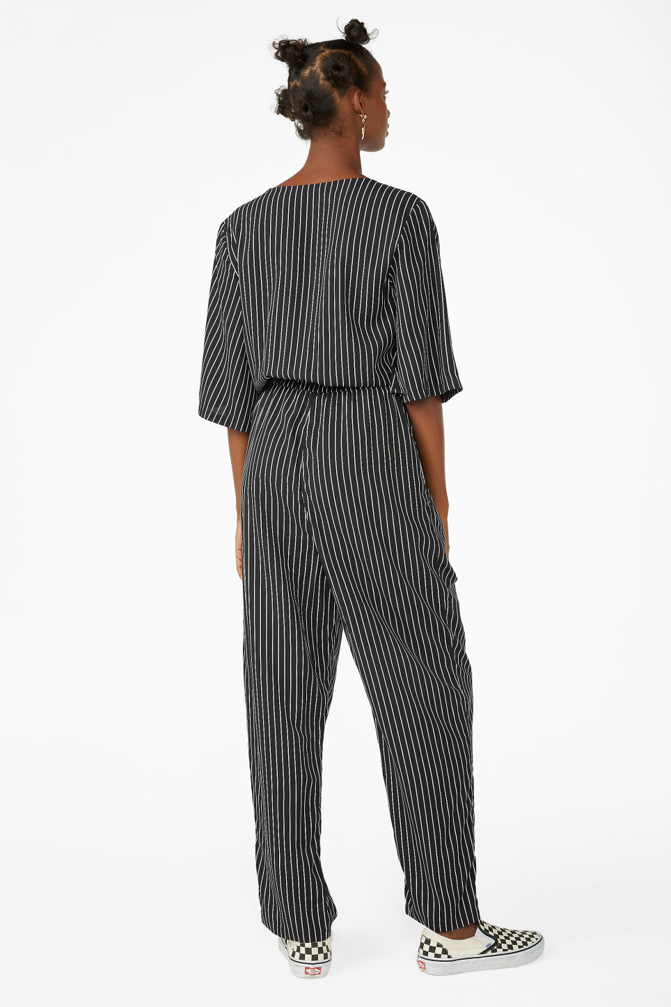 Model back image of Monki short-sleeved wrap jumpsuit in black