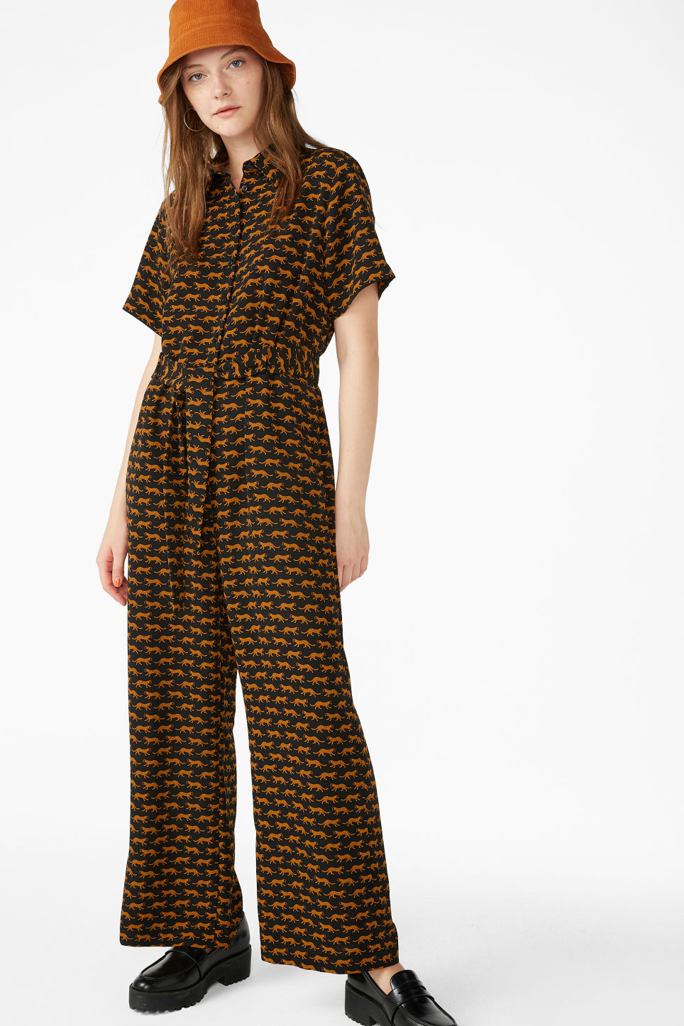 Model front image of Monki button-up jumpsuit in black