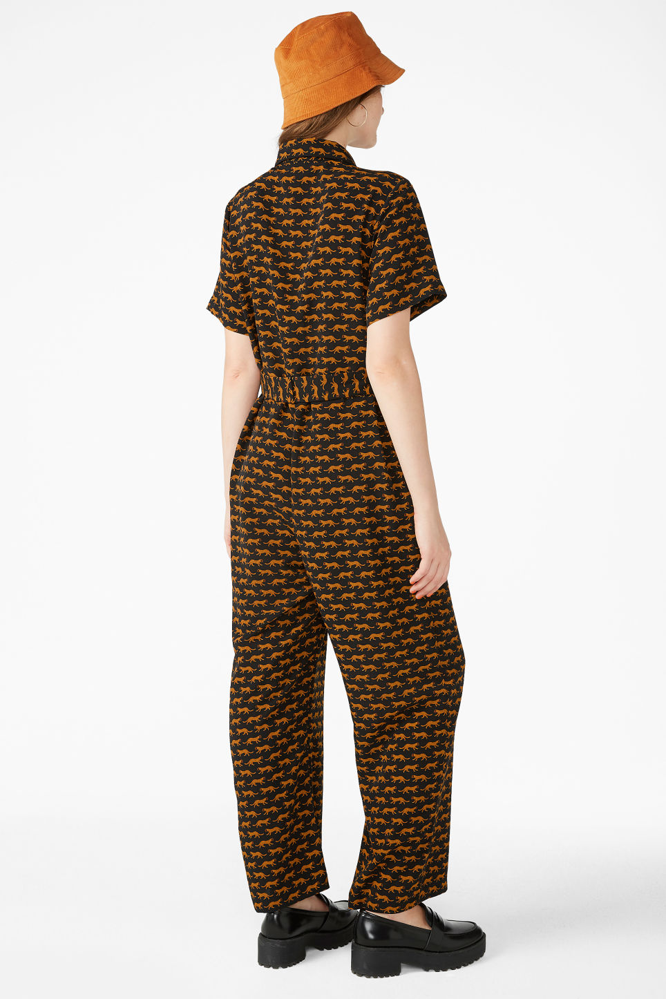 Model back image of Monki button-up jumpsuit in black