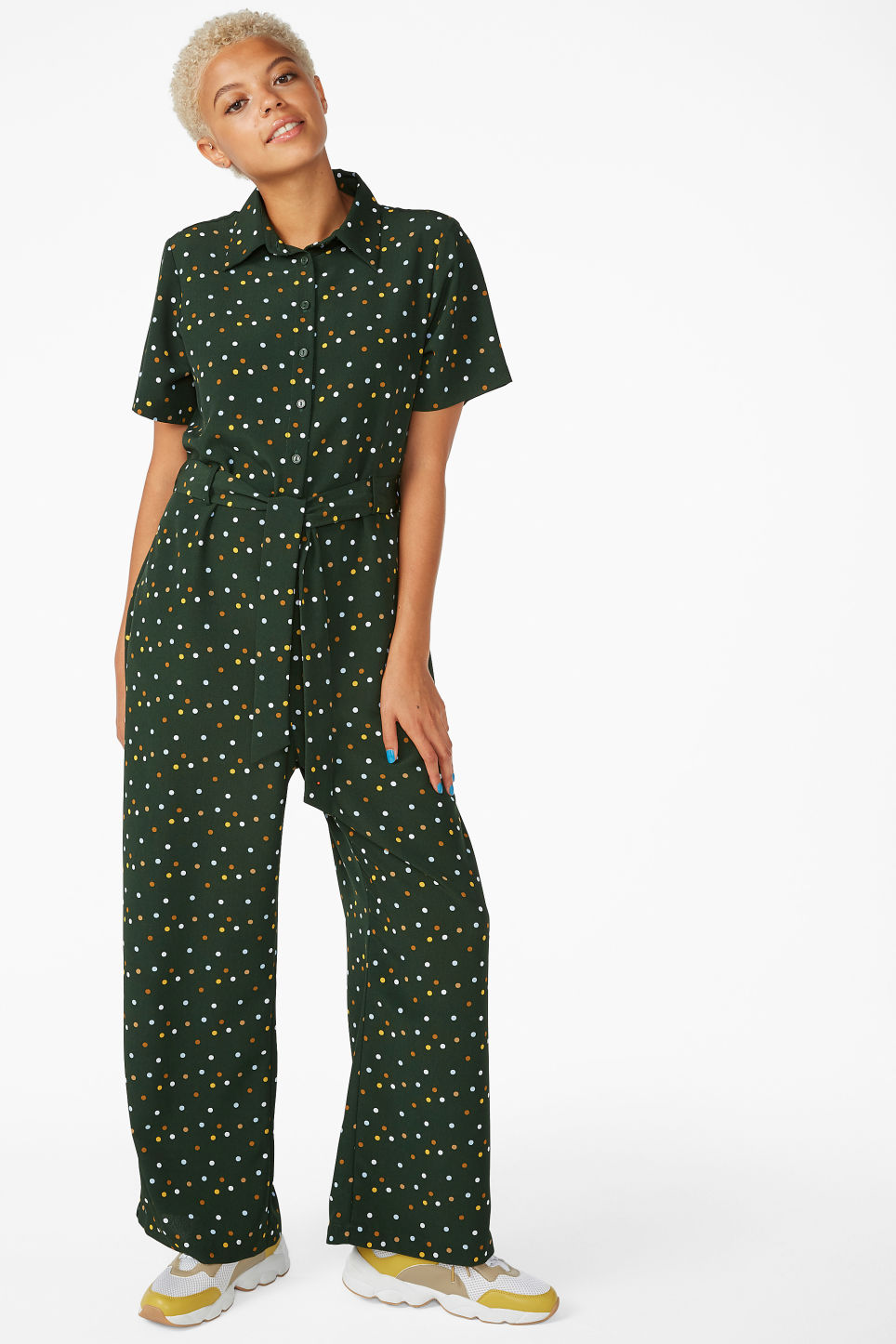 Model front image of Monki button-up jumpsuit in green