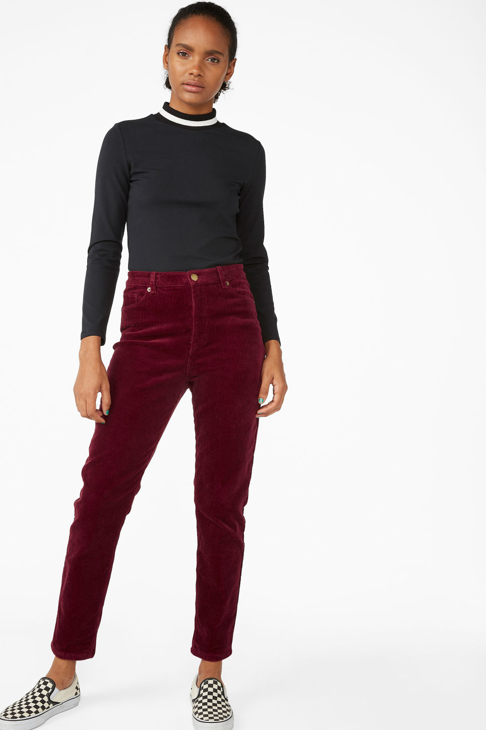 Model front image of Monki slim fit corduroy trousers in red